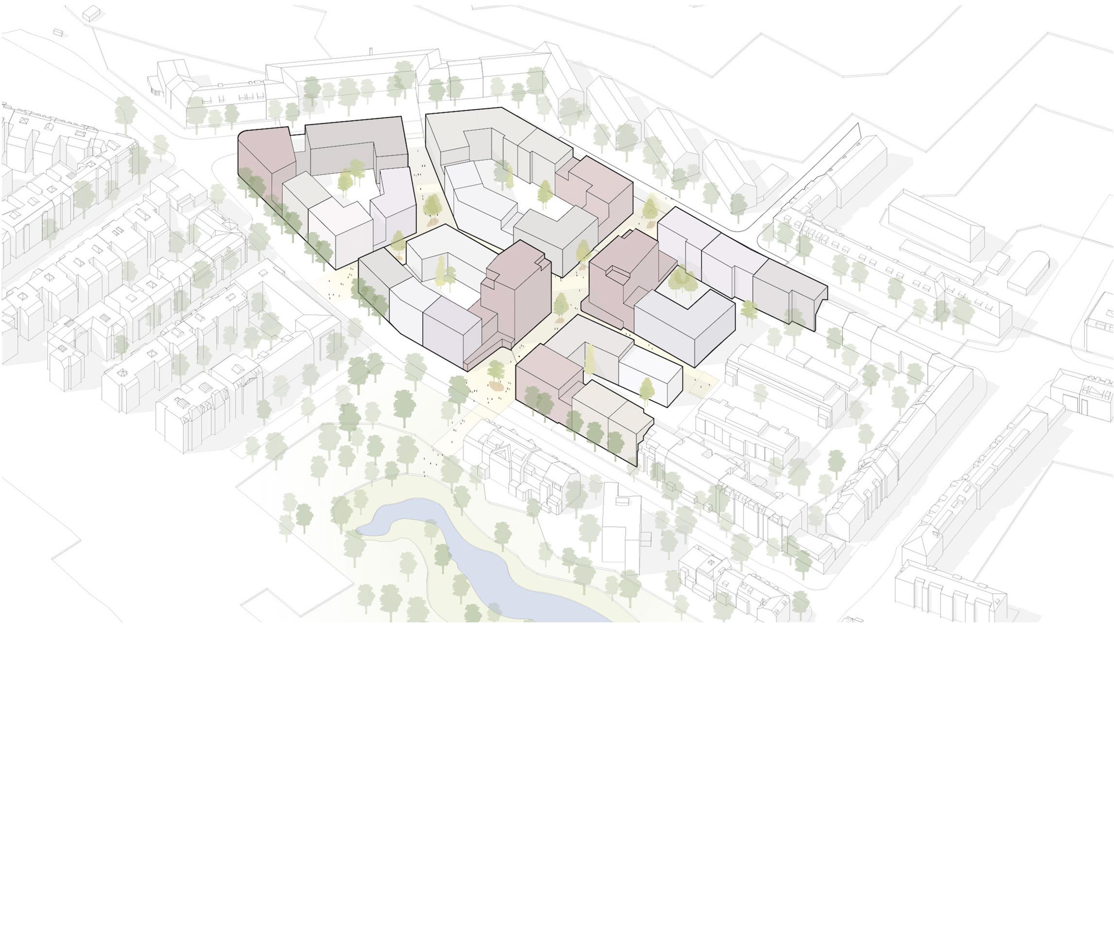 Das vorgeschlagene Konzept bietet die Möglichkeit, ein lebendiges Stadtquartier zu entwickeln. Die differenzierte Gebäudestruktur lässt unterschiedliche Grundrissoptionen zu und ist geeignet für vielfältige Nutzerstrukturen und Nutzergruppen. Nach außen nimmt das neue Quartier die Höhen der umgebenden Bebauung auf – innen differenzieren sich die Gebäudehöhen. Durch Einschnitte in der Blockrandbebauung und unterschiedliche Gebäudehöhen werden einzelne Häuser ablesbar.